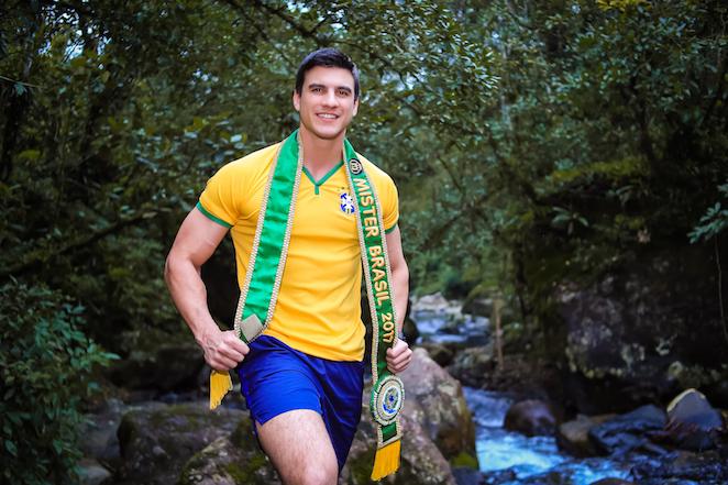 Mister Brasil Bruno Poczinek: ensaio e torcida pela Seleção