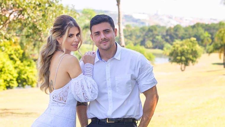 Ex-BBB Cacau Colucci se casa com look romântico com Bruno Lima